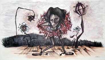 SELF PORTRAIT WITH TUTU - 120x60 cm - acrylics and pen on canvas