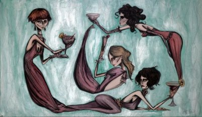 WOMEN WITH DRINKS - 120x60 cm - acrylics and pen on canvas