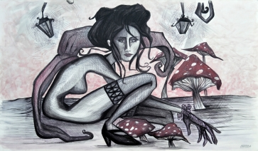 SELF PORTRAIT WITH MUSHROOMS - 120x60 cm - acrylics and pen on canvas
