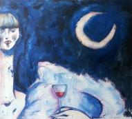luna con drink, 110x100 cm