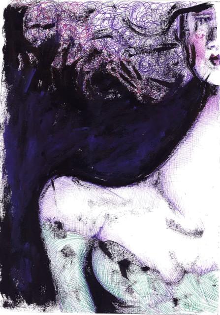 volto nero e viola, 22x30 cm