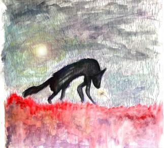 il lupo sotto la pioggia