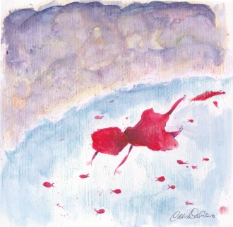 cappuccettorosso nuota coi pesci rossi