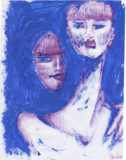 volti in blu, 21x29 cm